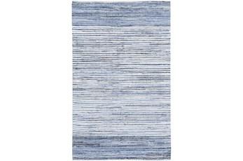 156X108 Rug-Recycled Denim Stripes