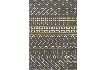 90X63 Rug-Charcoal & Yellow Modern Lines