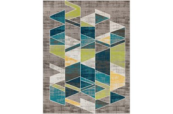 123X94 Rug-Teal & Lime Triangles