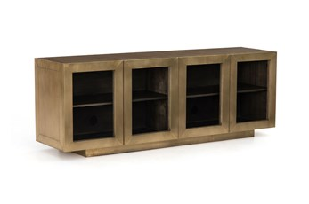 "Aged Brass Clad Grey Natural 72"" Media Console"