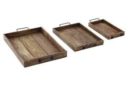 Set Of 3 Wood + Metal Trays