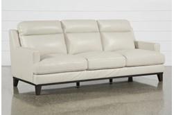 "Kathleen Cream Leather 91"" Sofa"