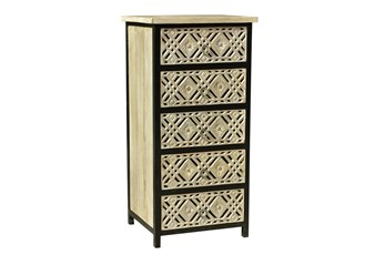 Black + White 5 Drawer Carved Chest