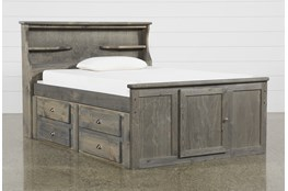 Summit Grey Full Bookcase Bed With Double 4-Drawer Storage Unit