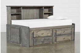 Summit Grey Twin Bookcase Daybed Bed With 4-Drawer Storage Unit
