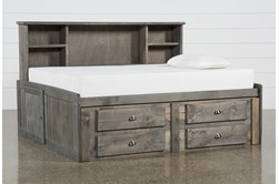 Summit Grey Full Bookcase Daybed Bed With 4-Drawer Storage Unit