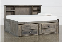 Summit Grey Full Bookcase Daybed Bed With 2-Drawer Captains Trundle