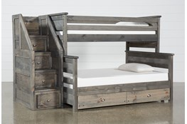 Summit Grey Twin Over Full Bunk With Trundle/Mattress & Stairway