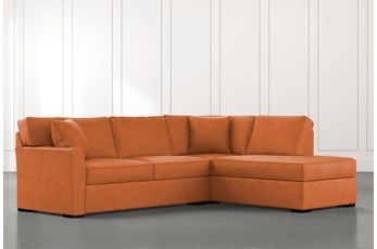 Aspen Orange 2 Piece Sleeper Sectional with Right Arm Facing Chaise