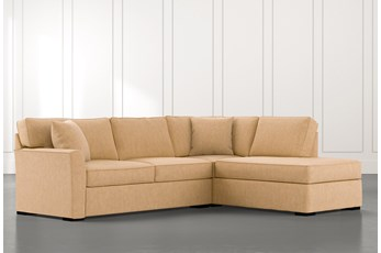 Aspen Yellow 2 Piece Sleeper Sectional with Right Arm Facing Chaise