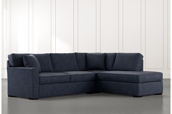Aspen Navy Blue 2 Piece Sleeper Sectional with Right Arm Facing Chaise