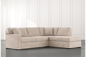 Aspen Beige 2 Piece Sleeper Sectional with Right Arm Facing Chaise