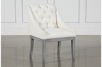 Alexa White Linen Dining Side Chair With Cement Legs