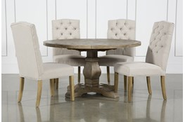 Caden 5 Piece Round Dining Set With Biltmore Chairs