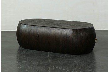 Dark Brown Oval Coffee Table