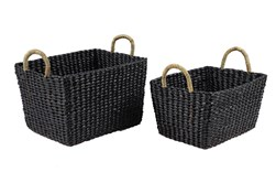 Square Black Wicker Baskets Set Of 2