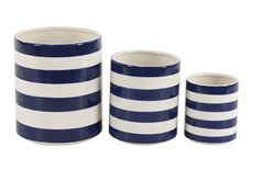 White + Blue Striped Planter Set Of 3