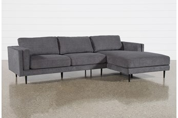 "Aquarius II Dark Grey 2 Piece 120"" Sectional With Right Arm Facing Chaise"