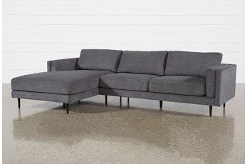 "Aquarius II Dark Grey 2 Piece 120"" Sectional With Left Arm Facing Chaise"