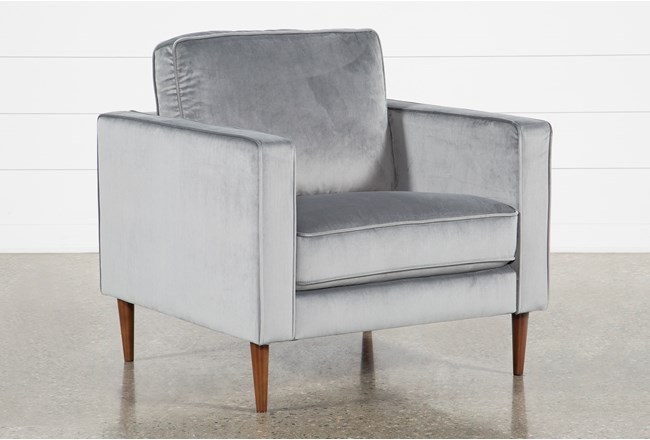 Fairfax Steel Grey Velvet Chair - 360