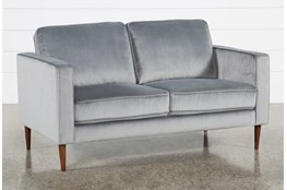 "Fairfax Steel Grey Velvet 63"" Loveseat"