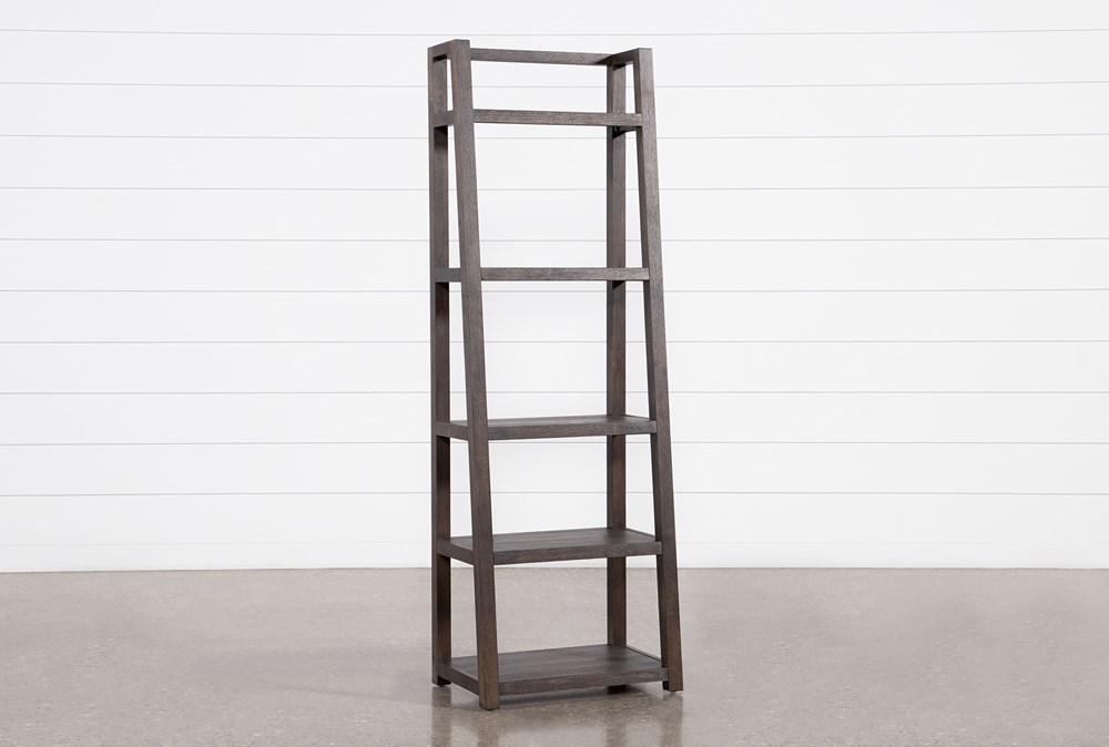 "Pierce Black Leaning 72"" Bookcase"