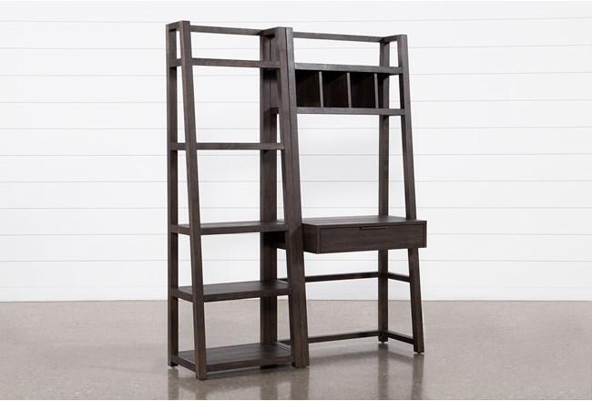 Pierce Black 2 Piece Wall Desk  - 360
