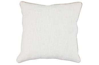 Accent Pillow-Ivory Cotton Slub With Linen Trim 22X22