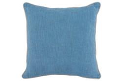 Accent Pillow-French Blue Cotton Slub With Linen Trim