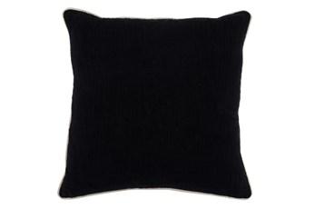 Accent Pillow-Black Cotton Slub With Linen Trim 22X22