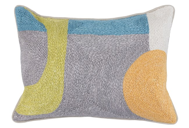 Accent Pillow-Grey & Multi Modern All Over Embroidery 14X20 - 360