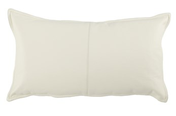 Accent Pillow-Ivory Leather 14X26