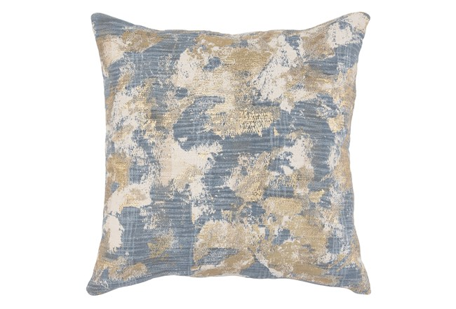 Accent Pillow-Steel Blue Abstract With Gold Accents 22X22 - 360