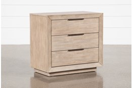 "Pierce Natural 3-Drawer 30"" Nightstand With USB and Power Outlets"