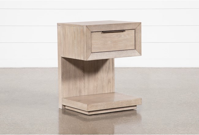 "Pierce Natural 1-Drawer 29"" Nightstand With USB and Power Outlets - 360"