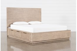 Pierce Natural California King Panel Bed With Storage