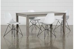 Matias Grey 5 Piece Dining Set With Alexa White Chairs