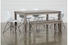 Matias Grey 6 Piece Dining Set With Alexa White Chairs