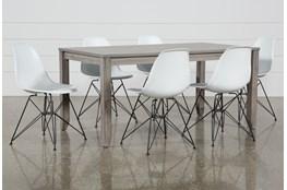 Matias Grey 7 Piece Dining Set With Alexa White Chairs