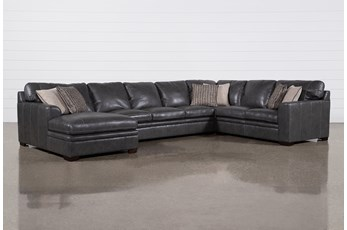 "Greer Dark Grey Leather 4 Piece 171"" Sectional With Left Arm Facing Chaise & Armless Sofa"