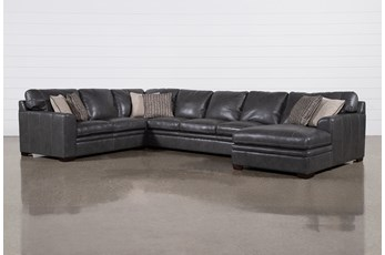 "Greer Dark Grey Leather 4 Piece 171"" Sectional With Right Arm Facing Chaise & Armless Sofa"