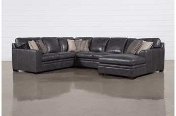 "Greer Dark Grey Leather 4 Piece 143"" Sectional With Right Arm Facing Chaise & Armless Loveseat"
