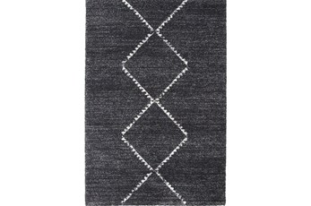 90X63 Rug-Plush Pile Center Diamonds Charcoal
