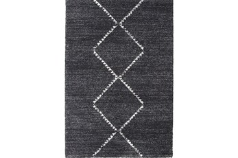 134X94 Rug-Plush Pile Center Diamonds Charcoal
