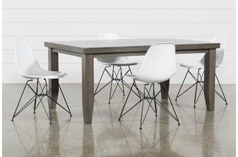 Ashford II 5 Piece Dining Set With Alexa White Chairs