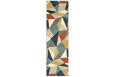 27X90 Rug-Zion Prism Orange/Aqau Plush Pile