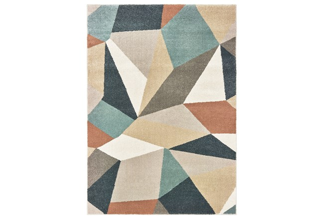 79X110 Rug-Zion Prism Orange/Aqau Plush Pile - 360