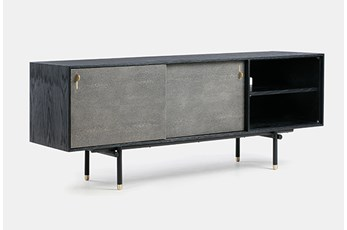 "Black Oak + Grey Shagreen 63"" Media Console"
