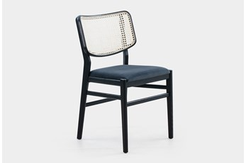 Cane Dining Chair W Black Velvet Seat