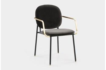 Grey Vevlet Brass Arm Dining Chair